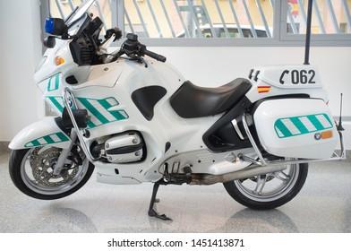 Badajoz, Spain - Oct 24th 2018: Spanish Civil Guard motorcycle, Traffic Group. Vehicule exhibited at Spanish Traffic Bureau