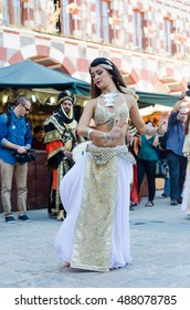 Badajoz, Spain - September 23, 2016: Bellydancer in the celebration of Almossassa in the city of Badajoz, Extremadura, Badajoz