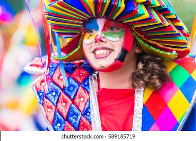 Badajoz, Spain, sunday. February.26. 2017 Participants in colorful costumes take part in the carnival parade in Badajoz 2017