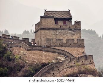 Badaling, Beijing/China - Apr. 19, 2018: A watchtower in the Great Wall of China in Juyongguan Pass, Badaling, China.