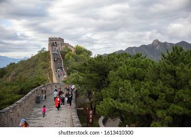 Badaling, China - October 5, 2019: Tourists visiting the Great Wall near Badaling, China.