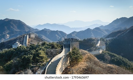 Badaling, panorama of the great Chinese wall built by hand in the mountains, wonder of the world.