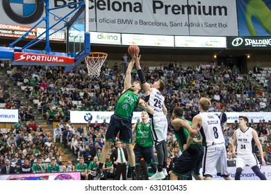 BADALONA, SPAIN - APRIL, 2017: Players in action at Spanish ACB Basketball League match between Divina Seguros Joventut and Bilbao Basket, final score 82 - 55, on Apr 23, 2017, in Badalona, Spain.