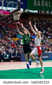 BADALONA, SPAIN - FEBRUARY 9: Luke Harangody of JB in action at Spanish ACB League match between Joventut Badalona and Fuenlabrada, final score 78-81, on February 9, 2020, in Badalona, Spain.