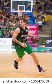 BADALONA, SPAIN - MARCH 30, 2019: Nicolas Laprovittola (10) of Joventut in action at Spanish ACB league basketball match between Joventut Badalona and Breogan Lugo, final score 81-88, in Badalona.