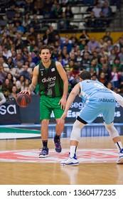 BADALONA, SPAIN - MARCH 30, 2019: Nicolas Laprovittola (10) of Joventut in action at Spanish ACB league basketball match between Joventut Badalona and Breogan Lugo, final score 81-88, in Badalona, Spa
