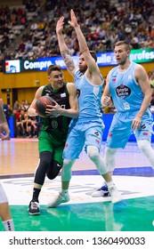 BADALONA, SPAIN - MARCH 30, 2019: Nenad Dimitrijevic (0) of Joventut in action at Spanish ACB league basketball match between Joventut Badalona and Breogan Lugo, final score 81-88, in Badalona, Spain.