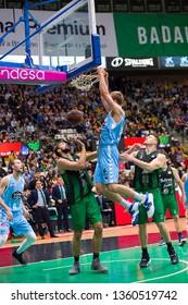 BADALONA, SPAIN - MARCH 30, 2019: Volodymyr Gerun (52) of Breogan in action at Spanish ACB league basketball match between Joventut Badalona and Breogan Lugo, final score 81-88, in Badalona, Spain.