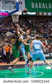 BADALONA, SPAIN - MARCH 30, 2019: Some players in action at Spanish ACB league basketball match between Joventut Badalona and Breogan Lugo, final score 81-88, in Badalona, Spain.