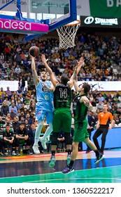 BADALONA, SPAIN - MARCH 30, 2019: Lucio Redivo (25) of Breogan in action at Spanish ACB league basketball match between Joventut Badalona and Breogan Lugo, final score 81-88, in Badalona, Spain.