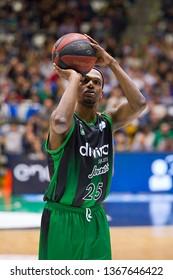 BADALONA, SPAIN - MARCH 30, 2019: Thaddus McFadden (25) of Joventut in action at Spanish ACB league basketball match between Joventut Badalona and Breogan Lugo, final score 81-88, in Badalona, Spain.