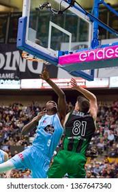 BADALONA, SPAIN - MARCH 30, 2019: Luke Harangody (81) of Joventut in action at Spanish ACB league basketball match between Joventut Badalona and Breogan Lugo, final score 81-88, in Badalona, Spain.