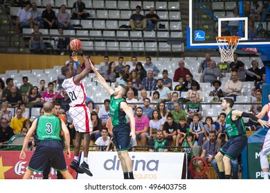 BADALONA, SPAIN - OCTOBER, 2016:  Some players in action at Spanish ACB Basketball League match between Joventut and Fuenlabrada, final score 65 - 82, on Oct 07, 2016, in Badalona, Spain.