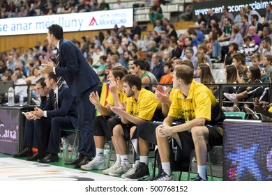 BADALONA, SPAIN - OCTOBER, 2016: Some players in action at Spanish ACB Basketball League match between Joventut and Iberostar Tenerife, final score 73 - 78, on Oct 16, 2016, in Badalona, Spain.