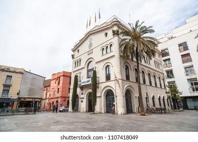 BADALONA,SPAIN-MAY 14,2018: City hall building,Casa consistorial, Badalona,Catalonia.
