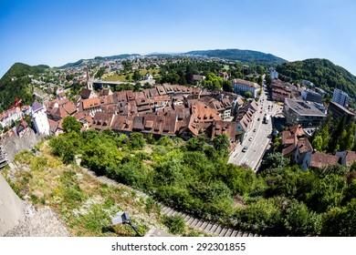 BADEN, AARGAU, SWITZERLAND - JUNE 30: View to the Schulhausplatz of Baden on June 30, 2015. Baden is a municipality in the Swiss canton of Aargau, located 25 km (16 mi) northwest of Zurich.