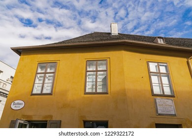 Baden, Austria - October 11, 2017:  The Beethovenhaus (Beethoven House) in Baden near Vienna.  Ludwig van Beethoven the composer spent 15 of his summers in this house.  It is now a museum.