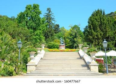 BADEN BEI WIEN, AUSTRIA JULY 29: View of Kurpark on July 29, 2013 in Baden bei Wien, Austria. Park is located in the center of Baden, was created in 1792.