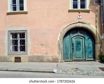 BADEN BEI WIEN, AUSTRIA - JULY 08: Old building in Biedermeier style in the spa town in Lower Austria, on July 08, 2020 in Baden, Austria