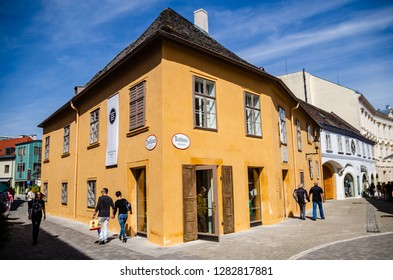 Baden bei Wien, Vienna -  Austria - 25.04.2015: Street in the old town in the center of Baden bei Wien. It is spa town, located about 26 km from Vienna. Town hall and museum. House of Ludwig van Beeth