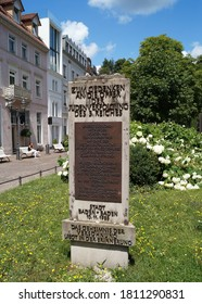 Baden-Baden, Germany - July 3, 2017: Memorial to victims of the prosecution of Jews in the 3rd Reich, installed in 1988