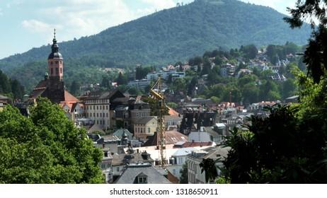 Baden-Baden- Germany - July 30, 2018: Beautiful panoramic landscape of Baden Baden, Germany at summer day