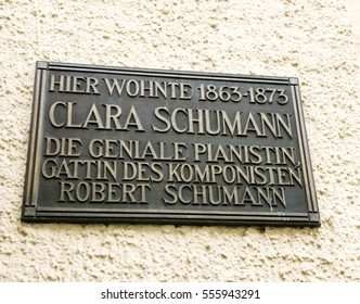 BADEN-BADEN, GERMANY - NOV 20, 2014: Clara Schumman, the wife of Robert Schumann compositor has lived here - memorial plaque in central Baden-Baden, Germany.