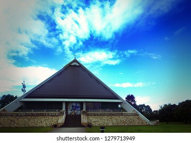 Baden-Baden, Germany - September 14, 2017: Church-pyramid built in a modern futuristic style. Sankt Christophorus Autobahnkirche Baden-Baden