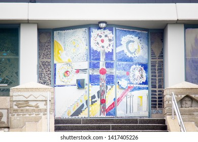 Baden-Baden, Germany,  September 14, 2017: Church and its unusual design. Church gates, painting. Sankt  -Christophorus Autobahnkirche