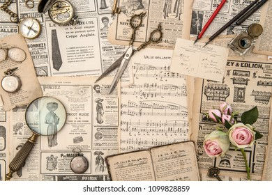 BADEN-BADEN - MAI 1, 2018: Antique collectible goods, books, postcars, magazine, music notes, news paper prepared for sale on the flea market in Baden-Baden, Germany
