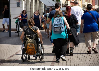 BADEN-WURTTEMBERG, GERMANY - AUGUST 25 : German Disabled people and foreign travelers walking visit and shopping at Heidelberg or Heidelberger old town on August 25, 2017 in Baden-Wurttemberg, Germany