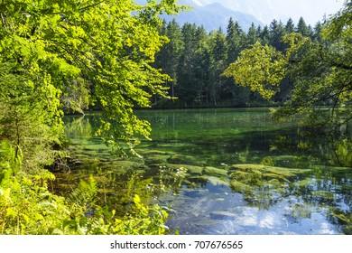 The Badersee Lake in Grainau, Garmisch-Partenkirchen, Werdenfels, Bavaria, Upper Bavaria, Germany, Europe