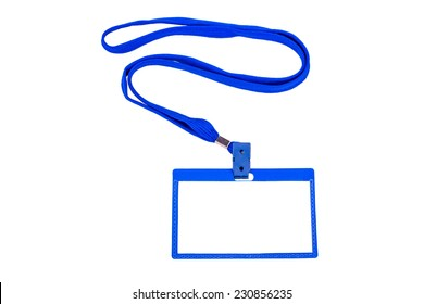 Badge with blue ribbon on white background