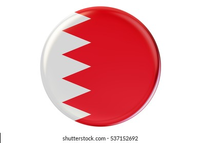 Badge with flag of Bahrain, 3D rendering  isolated on white background
