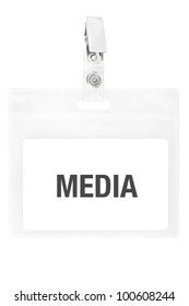 Badge or ID pass isolated on white background, clipping path included