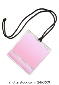 Badge with pink COPY SPACE. Isolated on a white background