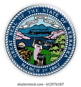 Badge US State Seal Nebraska, 3d illustration