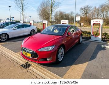 Badhoevedorp, Netherlands, February 2019. Tesla Model S at a Tesla Supercharger station