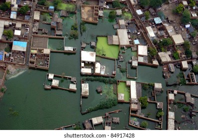 BADIN, PAKISTAN - SEPT 17: An aerial view of a flood hit area in Badin District on September 17, 2011.