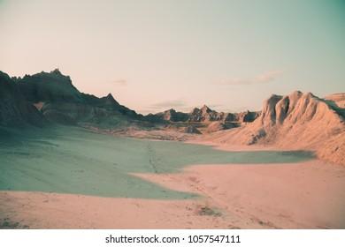 Badlands Dramatic Shadow from Large Peak