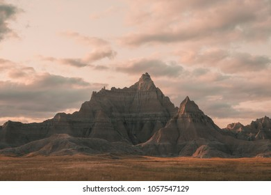 Badlands Large Peak with Open Field