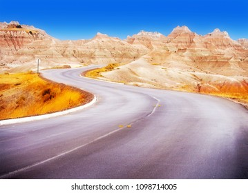 Badlands Loop Road through the Yellow Mounds area of Badlands National Park in South Dakota, USA