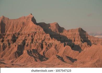 Badlands Mountain Peak with Blue Sky