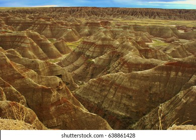 Badlands National Park in South Dakota. Painted hills, canyons, and plateau.