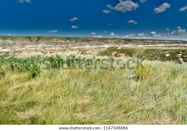 Badlands Outdoor Park, Alberta Canada beneath Beautiful Blue Skies, Green Grass and Arid River Bed