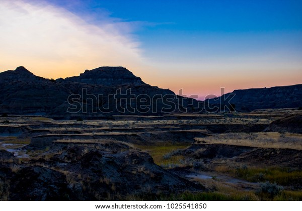 Badlands in the Sunset