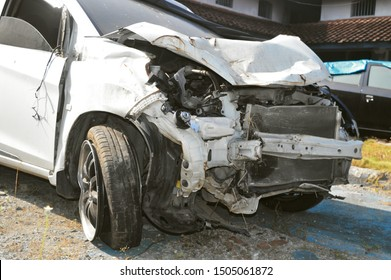 Badly Damaged Car By Accident
