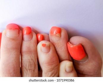 Mature turkish feet with longer red toenails