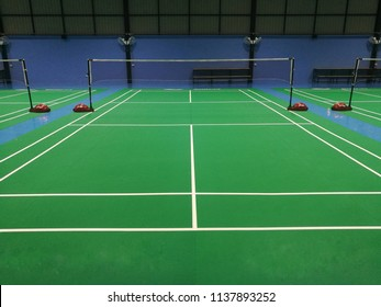 Badminton court in green