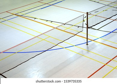 badminton court net education gymnasium sport lines
